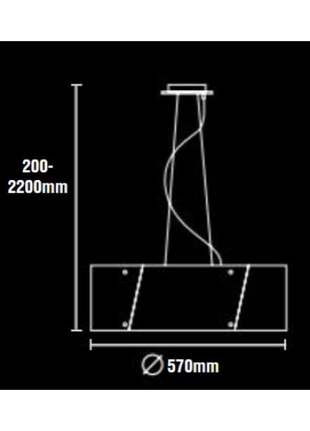 HANGLAMP ARGUS WIT-ZWART 57 EN 67CM