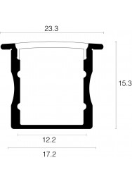 Alupro Curve LED profiel inbouw 15mm