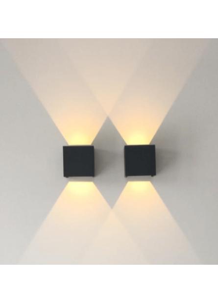 WANDLAMP CUBE LED VIERKANT 2700K 6W ZWART